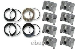 Chevrolet GMC SBC 350 5.7L V8 8 Fits 1967 1995 Flat Top Pistons and Moly Rings